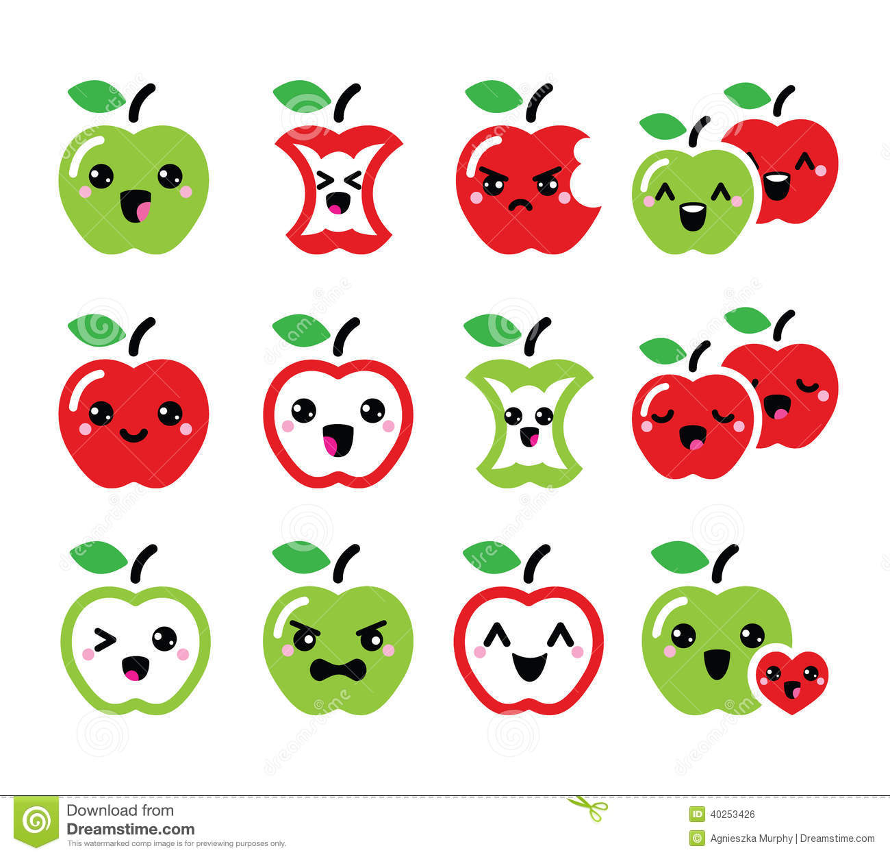 Happy Green Color Cute Red Apple And Green Apple Kawaii Icons Set Stock