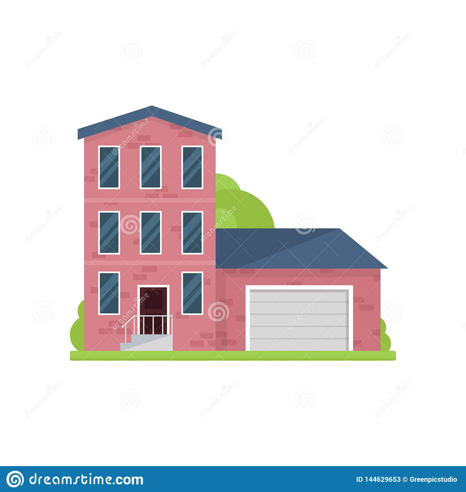 Cute red brick house with three floors and garage