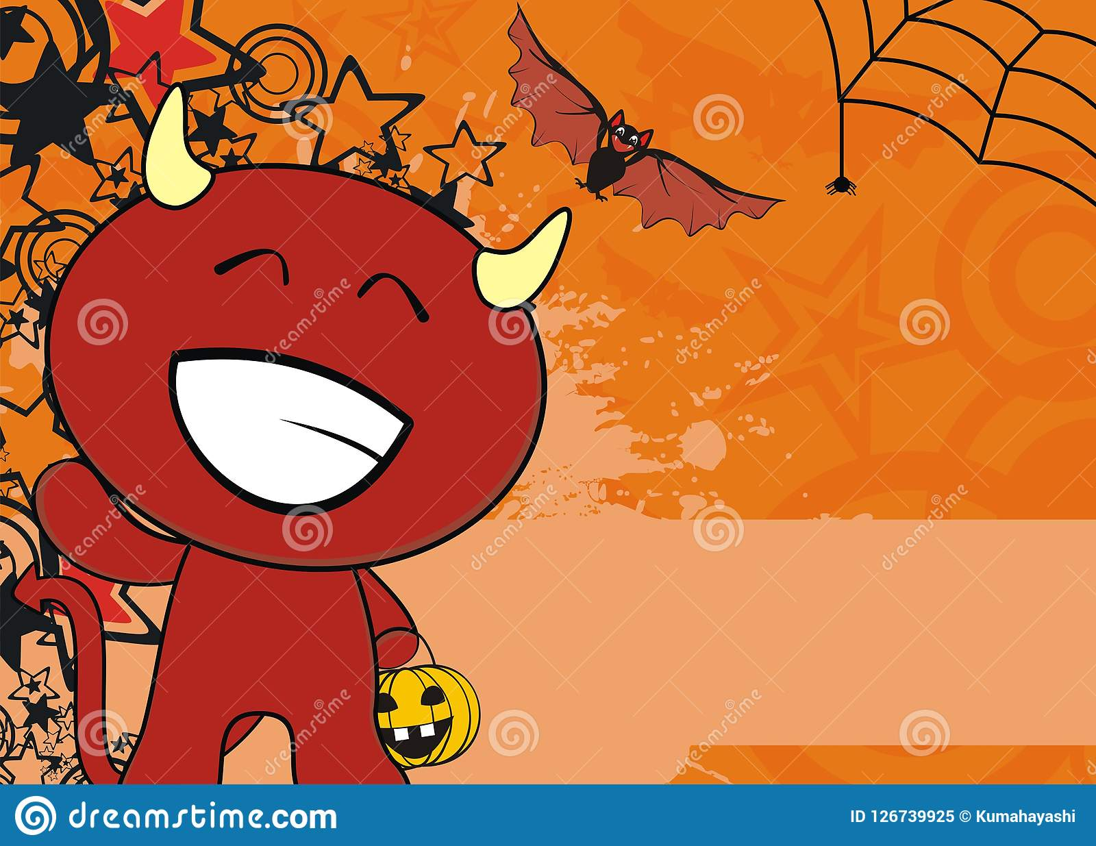 Cute Red Demon Cartoon Halloween Background2 Stock Vector