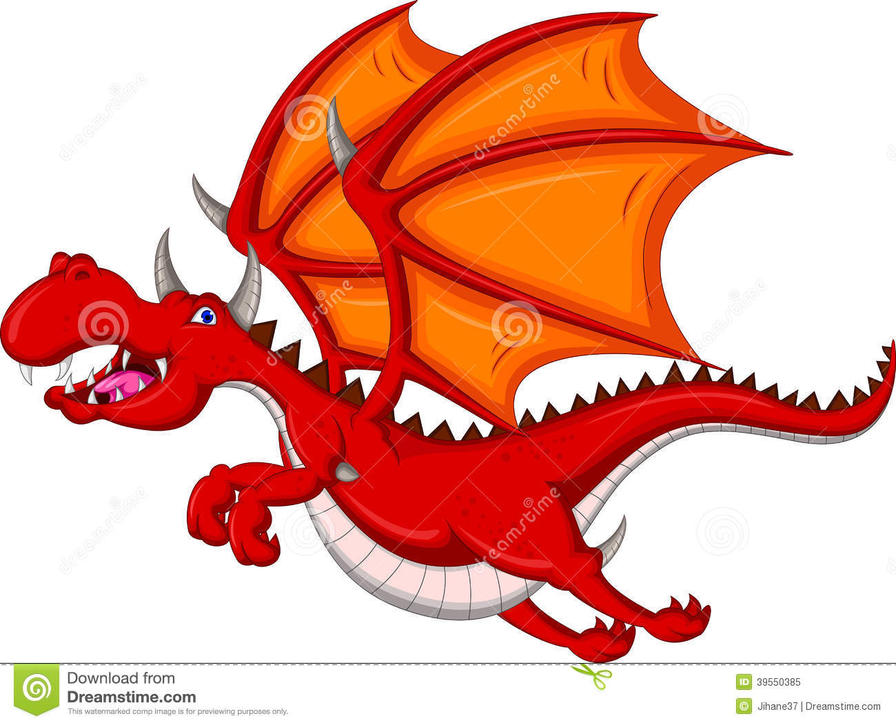 Red Dragon Cartoon Fire