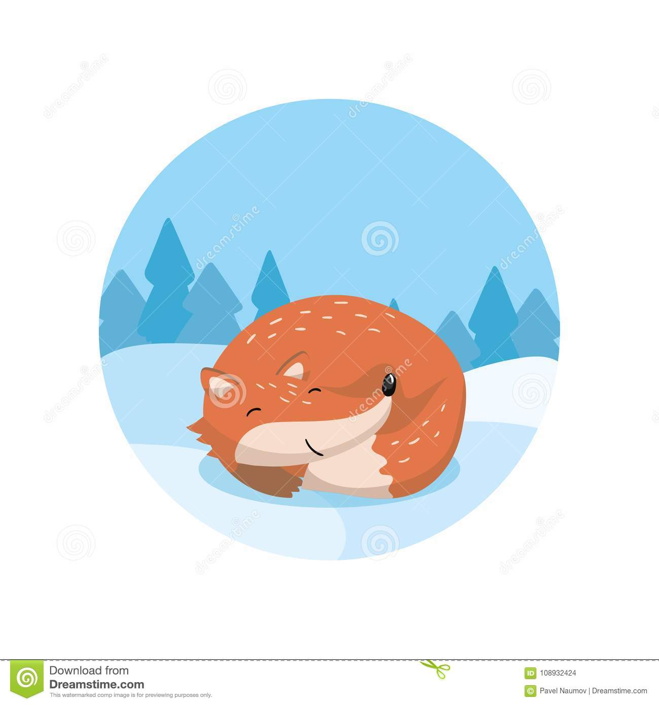 Cute red fox lying on the background of winter landscape vector Illustration, cartoon style