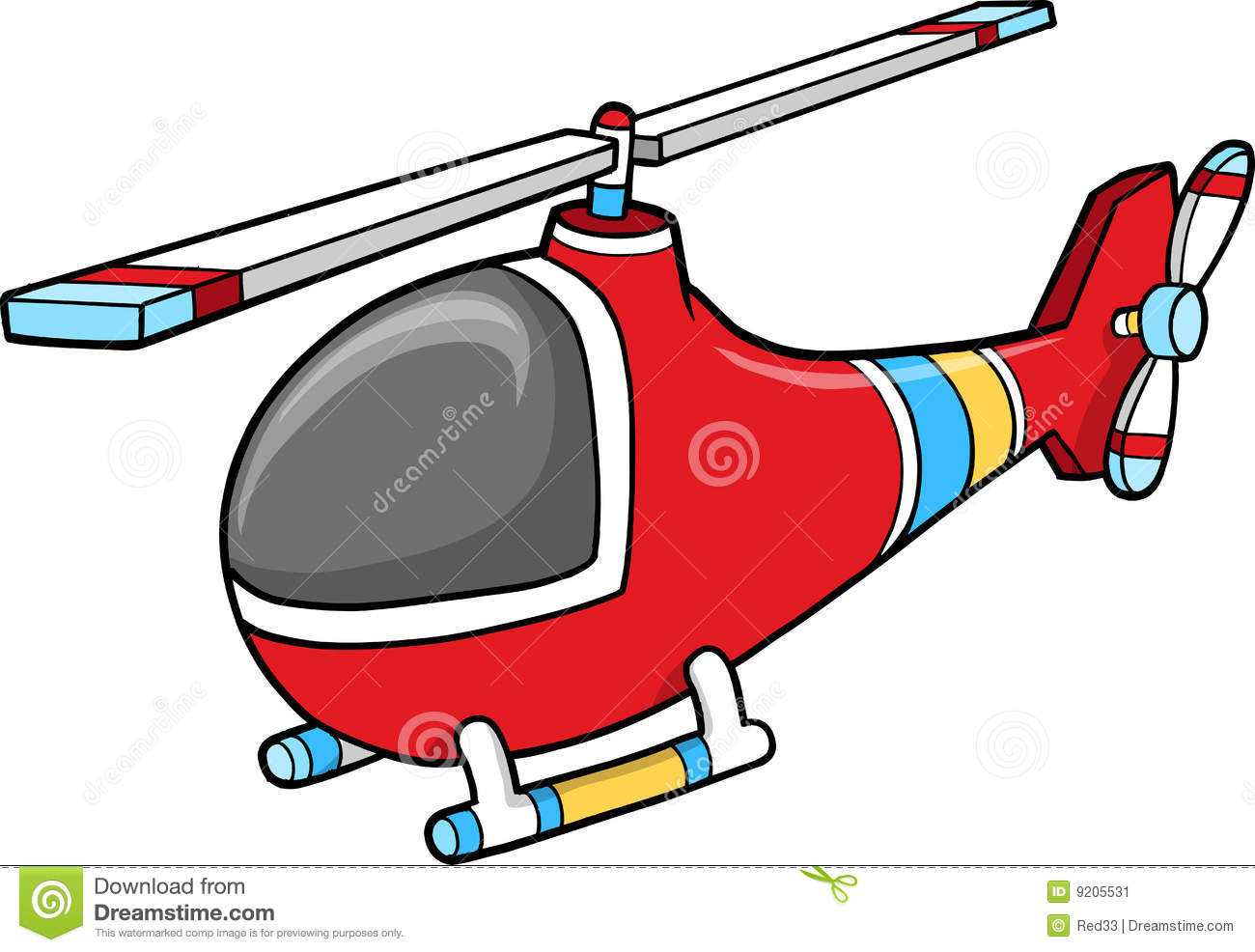 Cute Red Helicopter Vector Stock Vector. Illustration Of