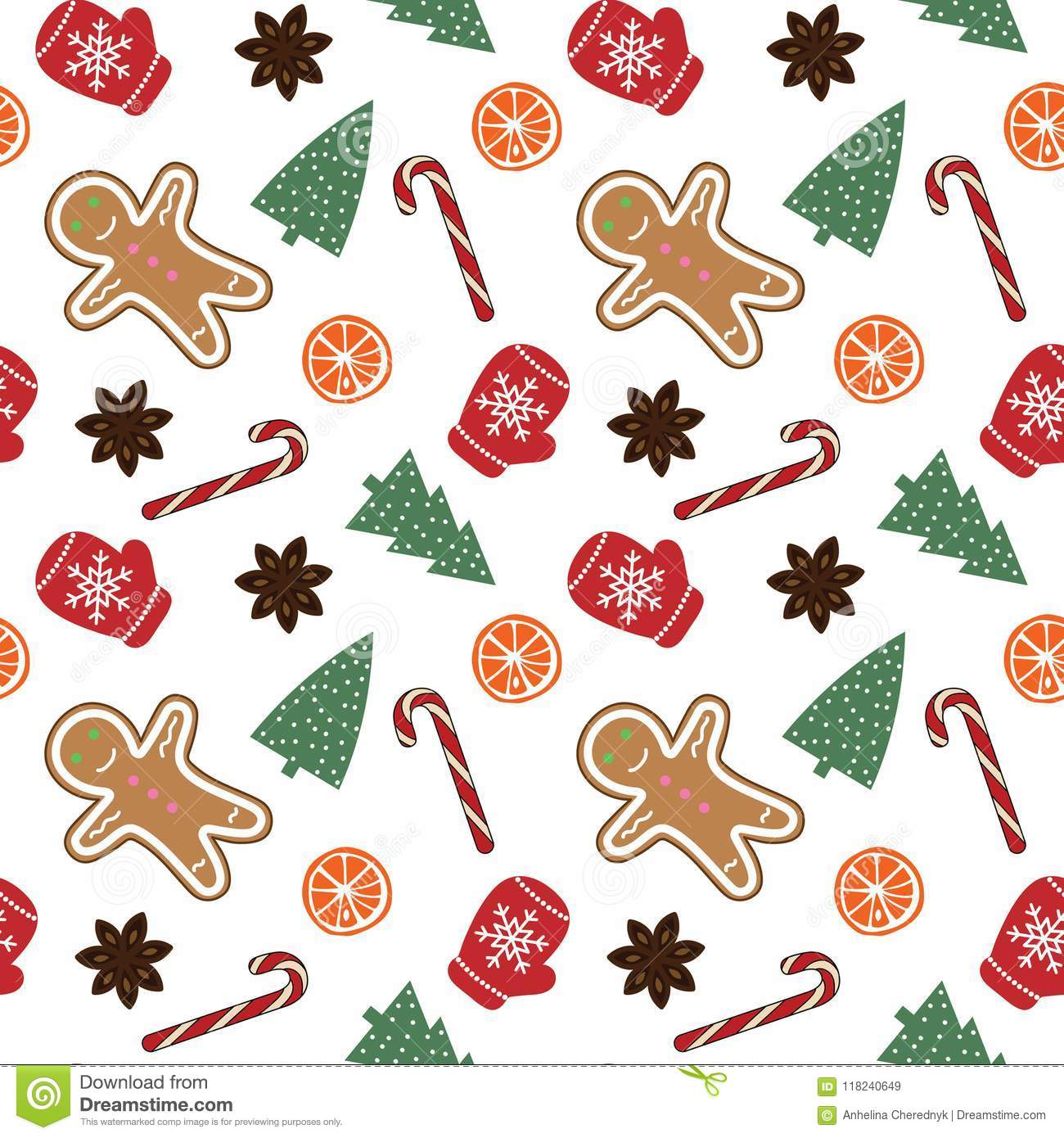 cute red mittens snowflakes glove green christmas tree cand candy cane gingerbread man orange cinnamon white background 118240649