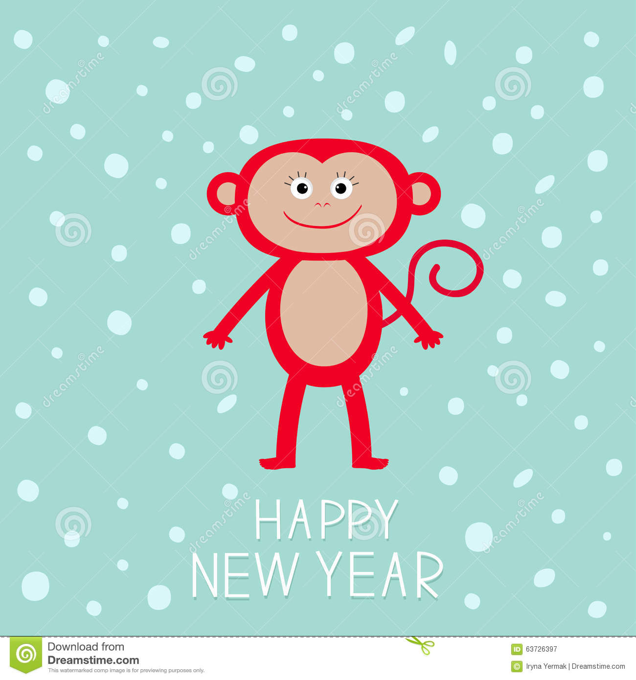 cute red monkey on snow background happy new year 2016 baby illustration greeting