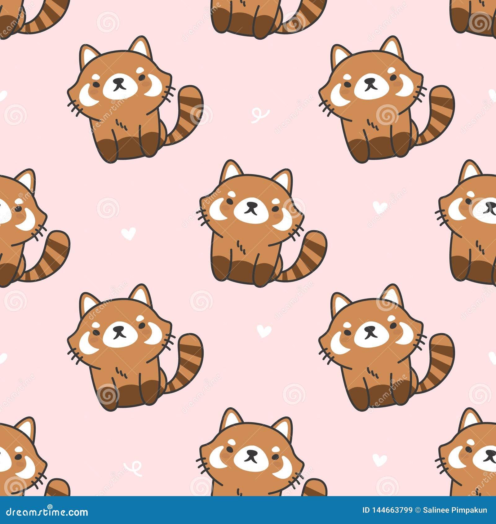 Cute red panda Seamless Pattern Background