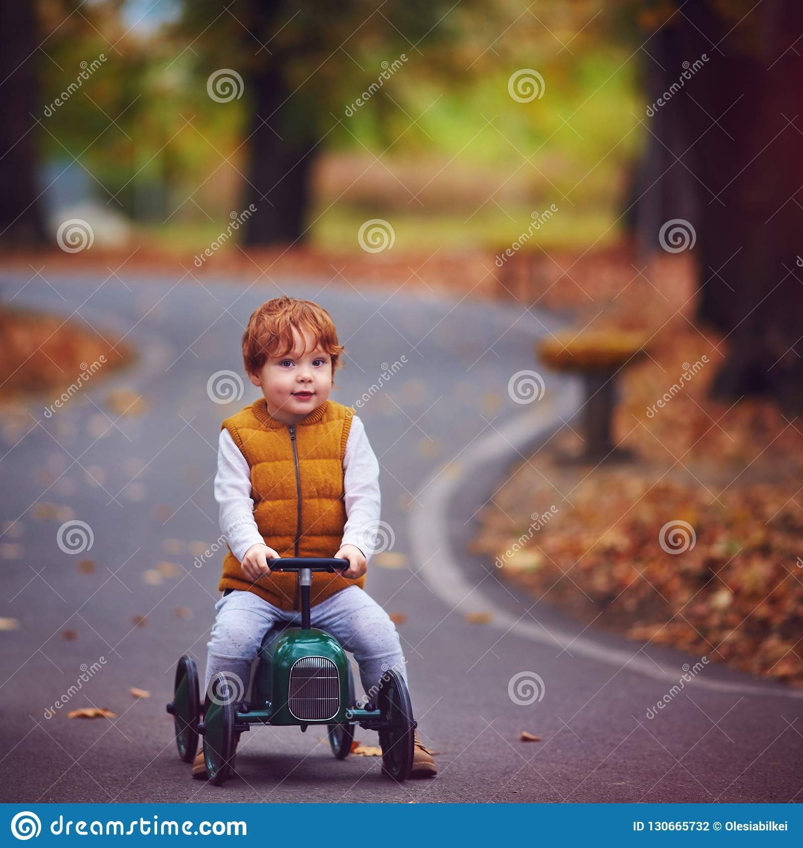 Cute redhead baby boy driving a push car in autumn park