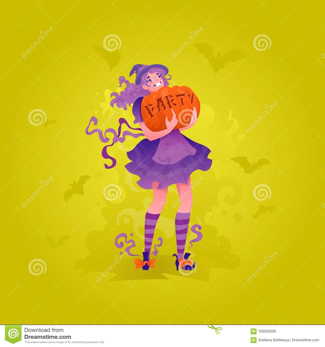 girl carrying pumpkin with party word stock illustration