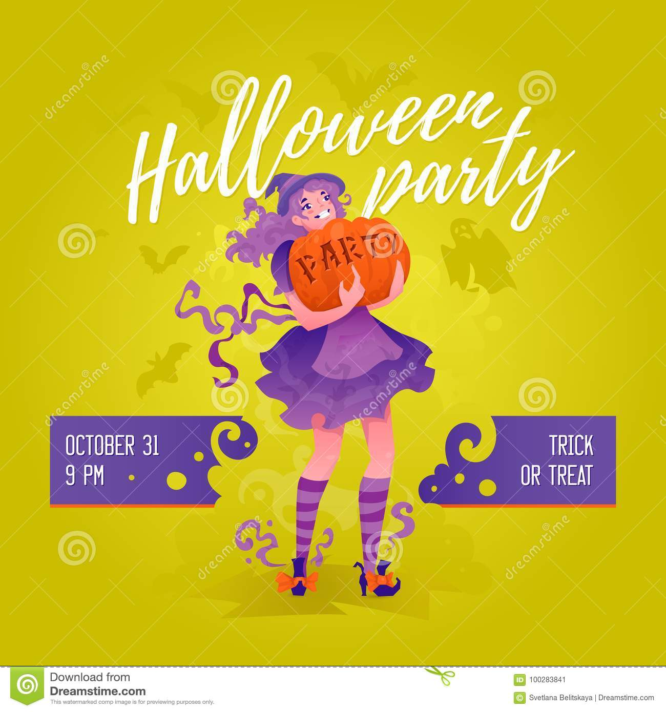 halloween party illustrative design concept stock illustration