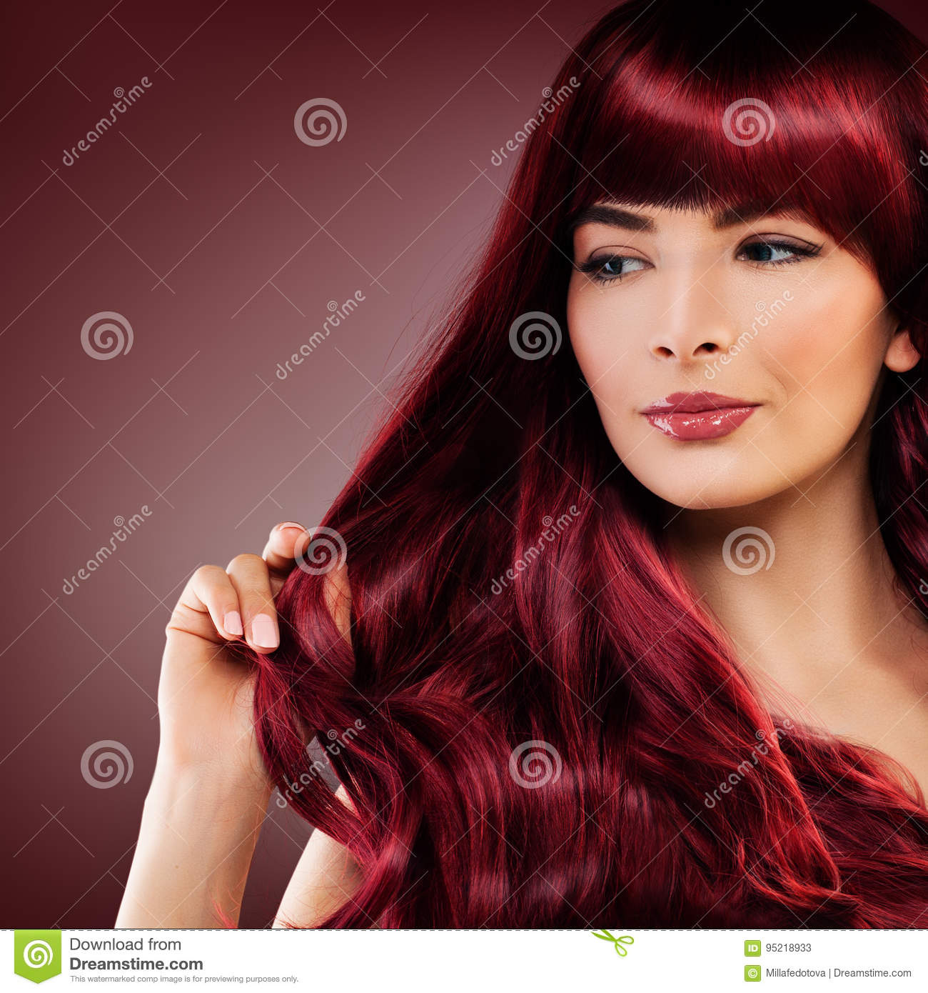 Cute Redhead Woman With Red Hairstyle Girl With Redhead Curly Stock