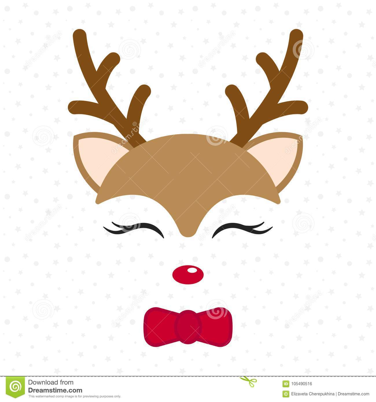 Cute Reindeer Baby Deer Merry Christmas Cartoon Character Boy With Bow Tie Stock Vector Illustration Of Celebration Brown 105490516