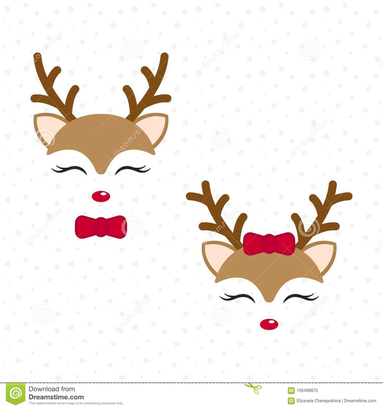 Cute reindeer. Baby deer. Merry Christmas cartoon character. Boy with bow tie and girl with red bow.
