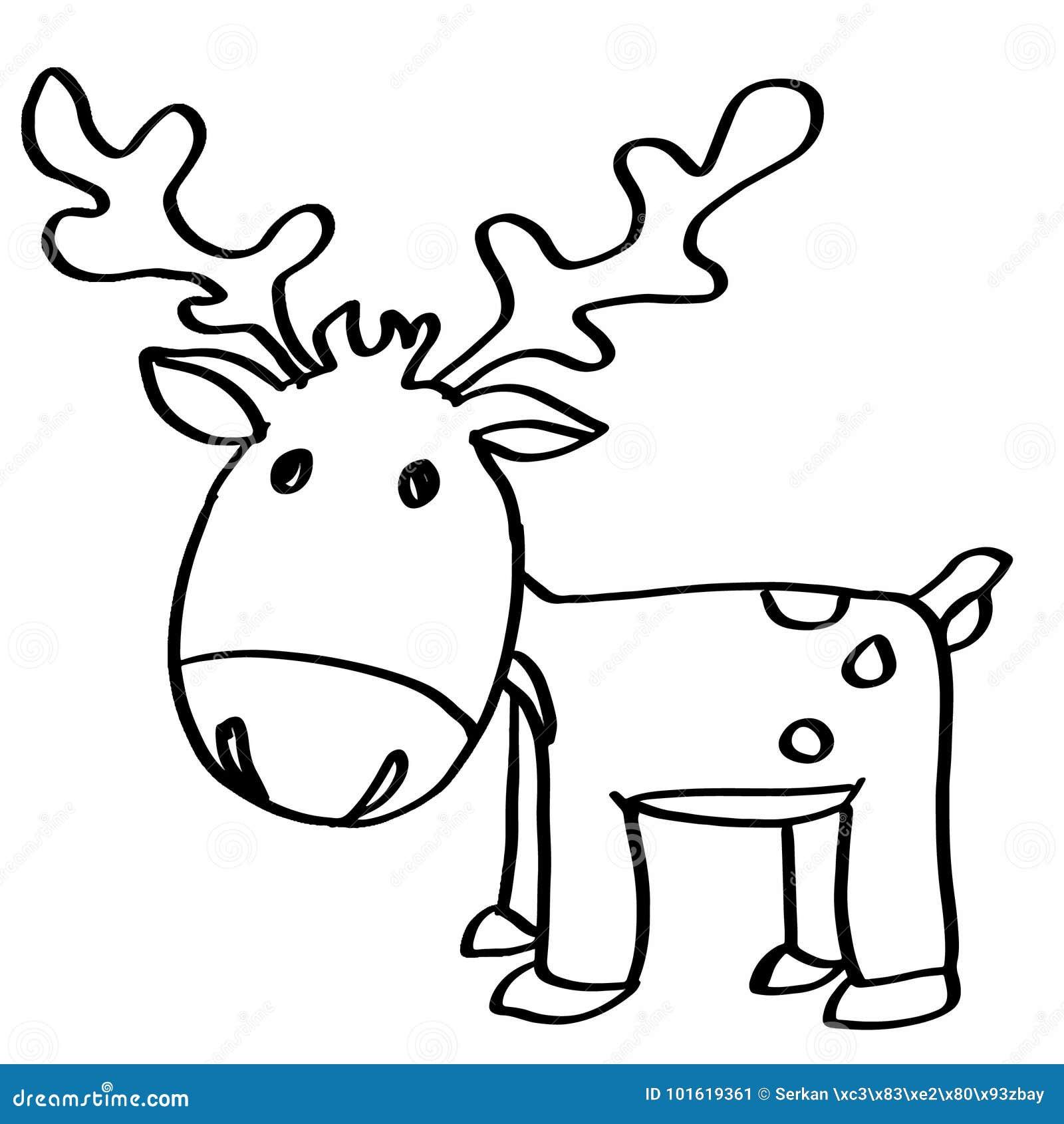 Cute Reindeer Cartoons Coloring Stock Illustration Illustration Of