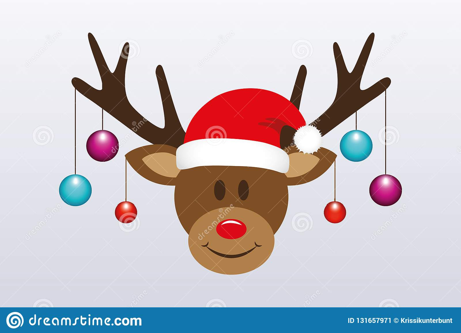 5d4528b1b0f17 Royalty-Free Vector. Cute reindeer with christmas tree balls and santa hat