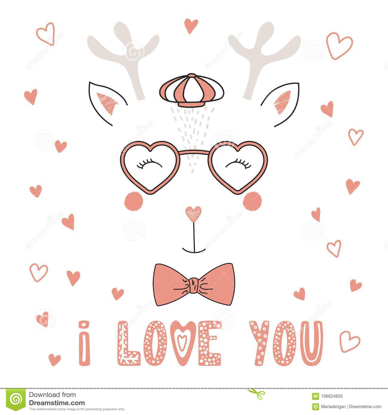 bb298acb3f Cute Reindeer In Heart Shaped Glasses Stock Vector - Illustration of ...