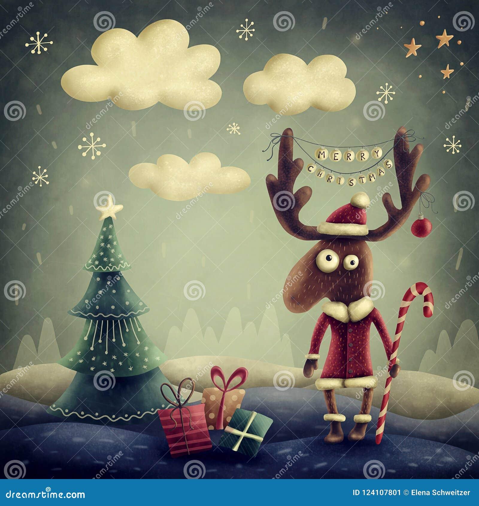 Download Cute reindeer stock illustration. Illustration of children - 124107801