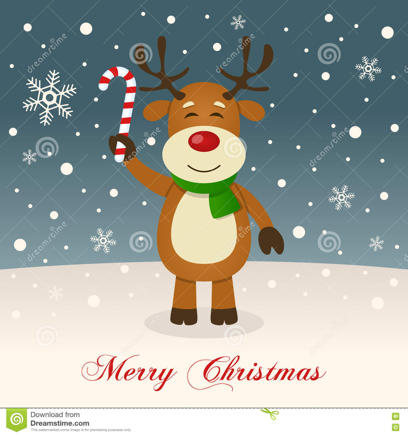 A Cute Reindeer Wishing A Merry Christmas Stock Vector