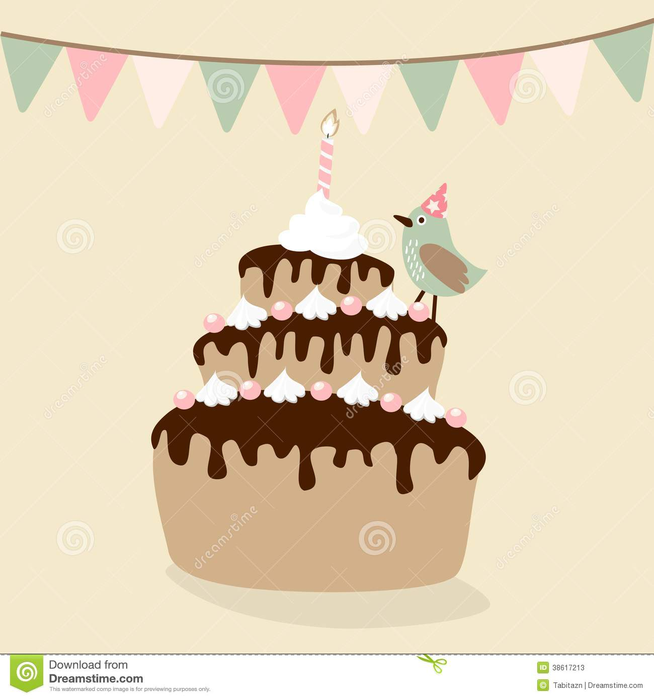 Cute retro birthday card invitation with cake stock illustration download comp stopboris Gallery