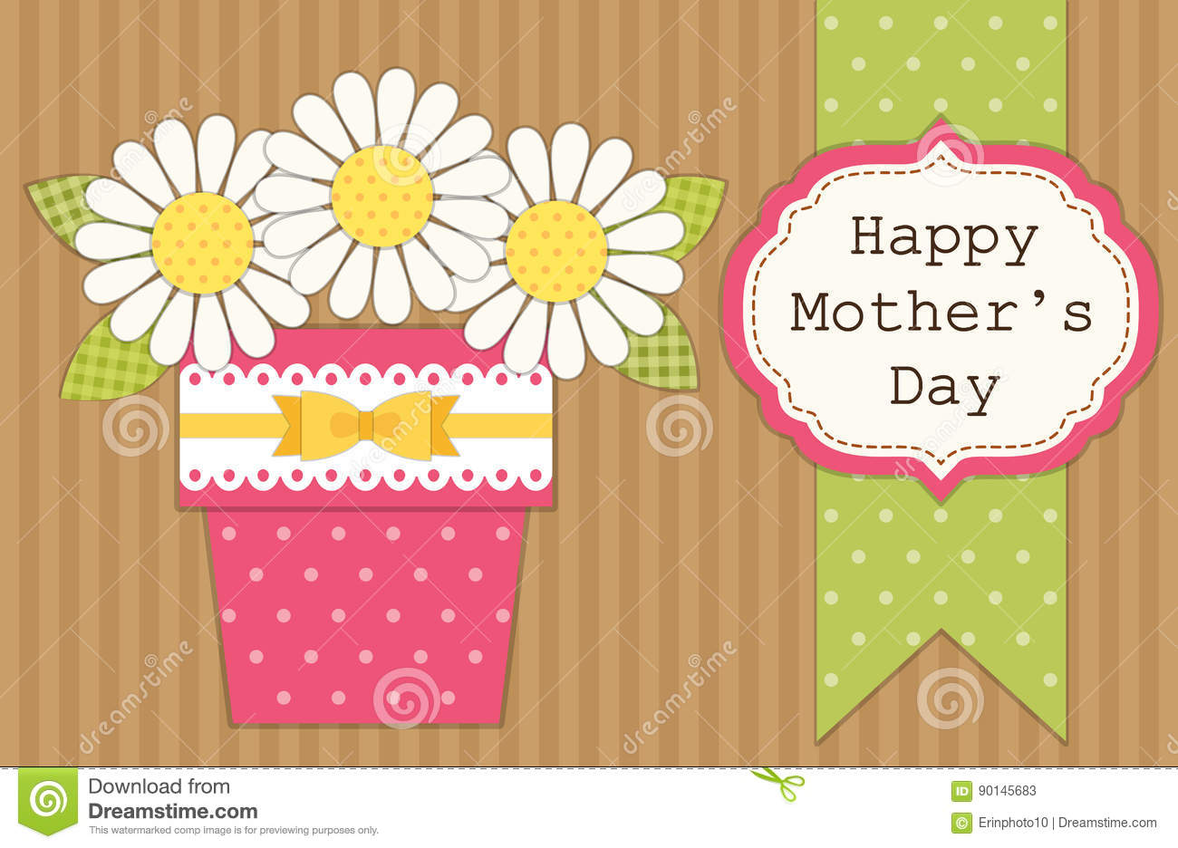 Cute Retro Card For Mothers Day With Flowers In A Pot Stock Vector
