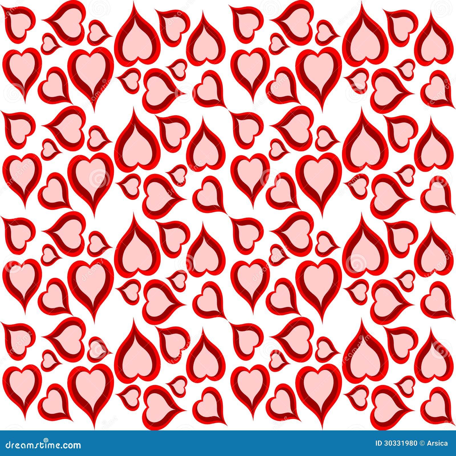 Cute Retro Design Background Of Hearts Stock Photo Image