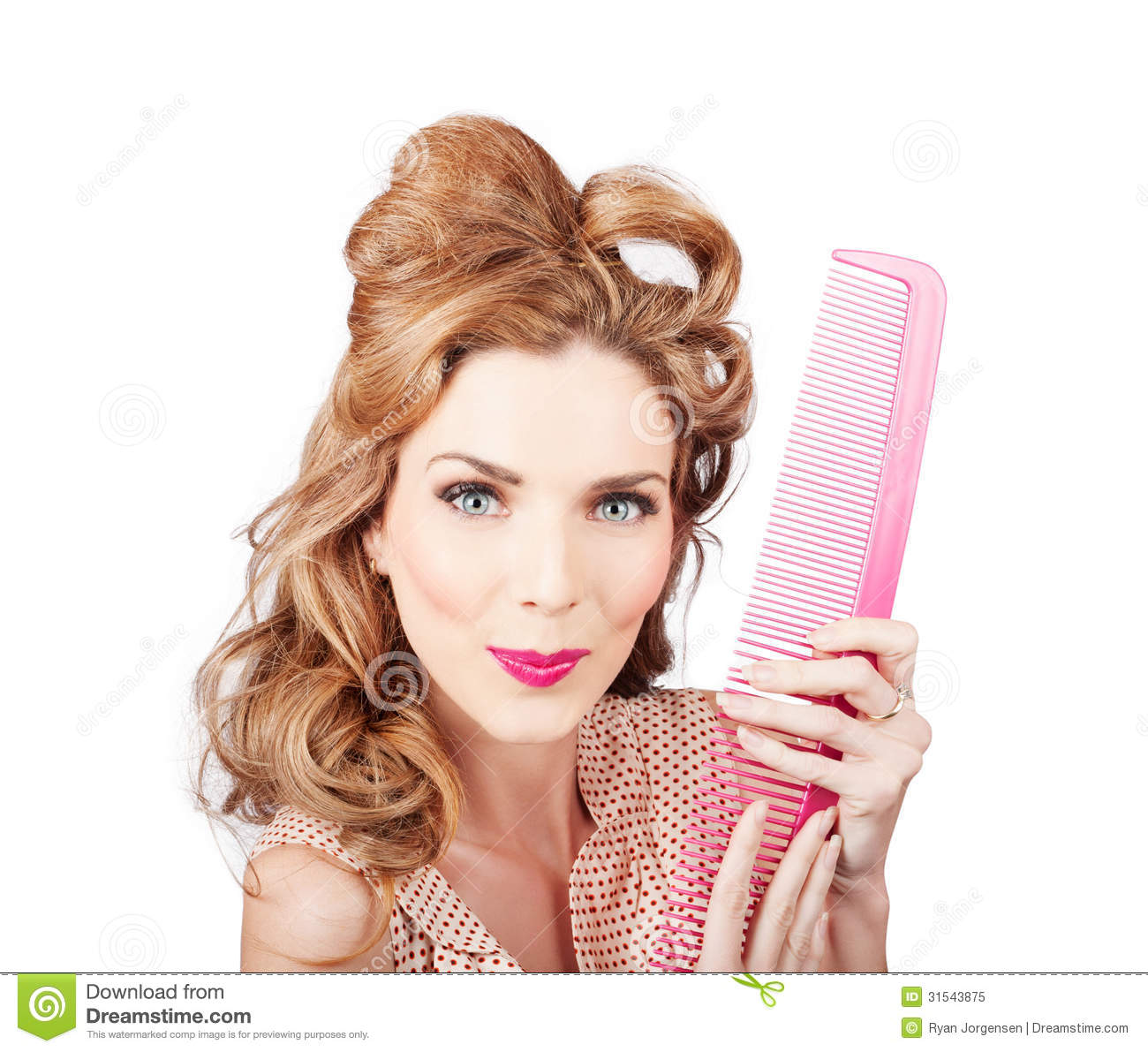 Fun blond hairstyle woman with hair styling comb royalty for 1950 s beauty salon