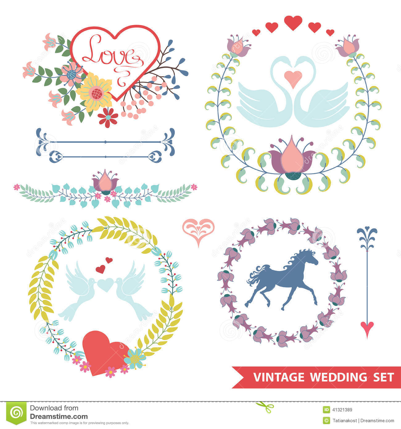 Cute Wedding Design Template Set With Flowers Vector Image – Wedding Labels Template