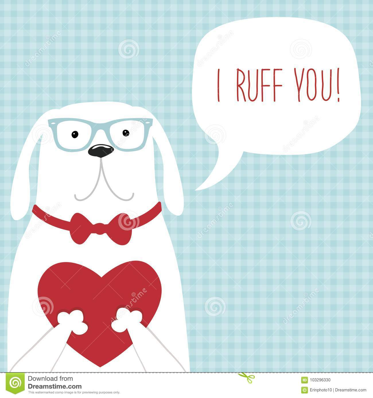 Cute retro hand drawn Valentine`s Day card as funny Dog with Heart and speech bubble
