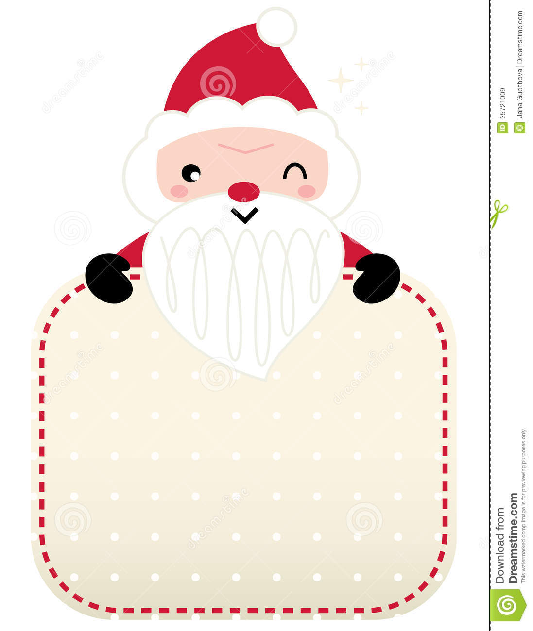 Cute retro Santa greeting stock vector. Illustration of clip - 35721009