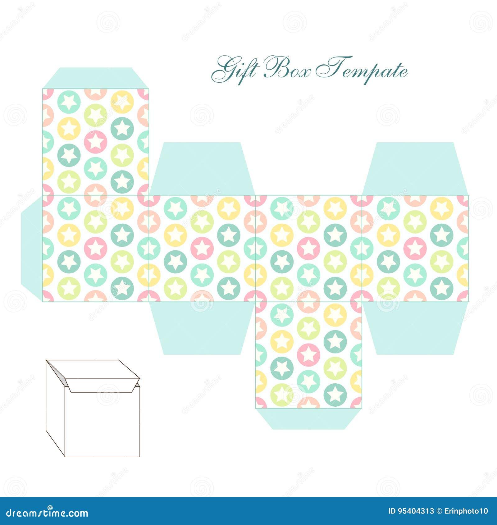 cute retro square gift box template with stars ornament to print