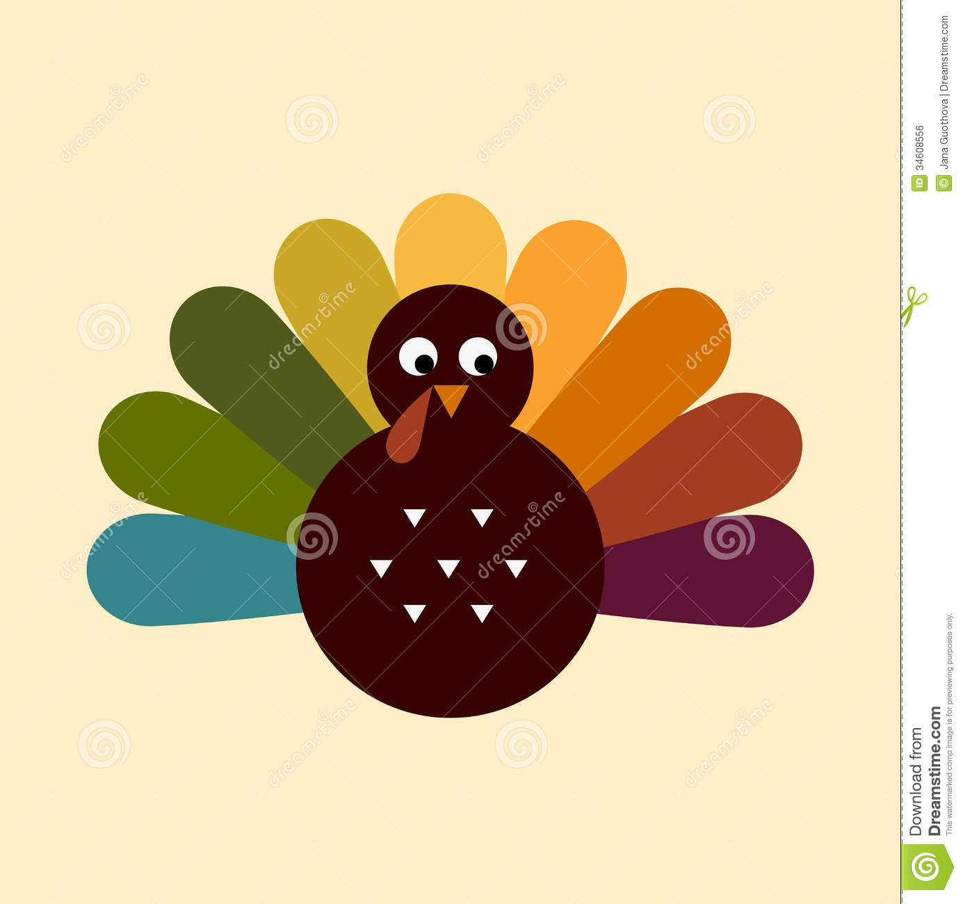 Cute Retro Thanksgiving Turkey Royalty Free Stock Image
