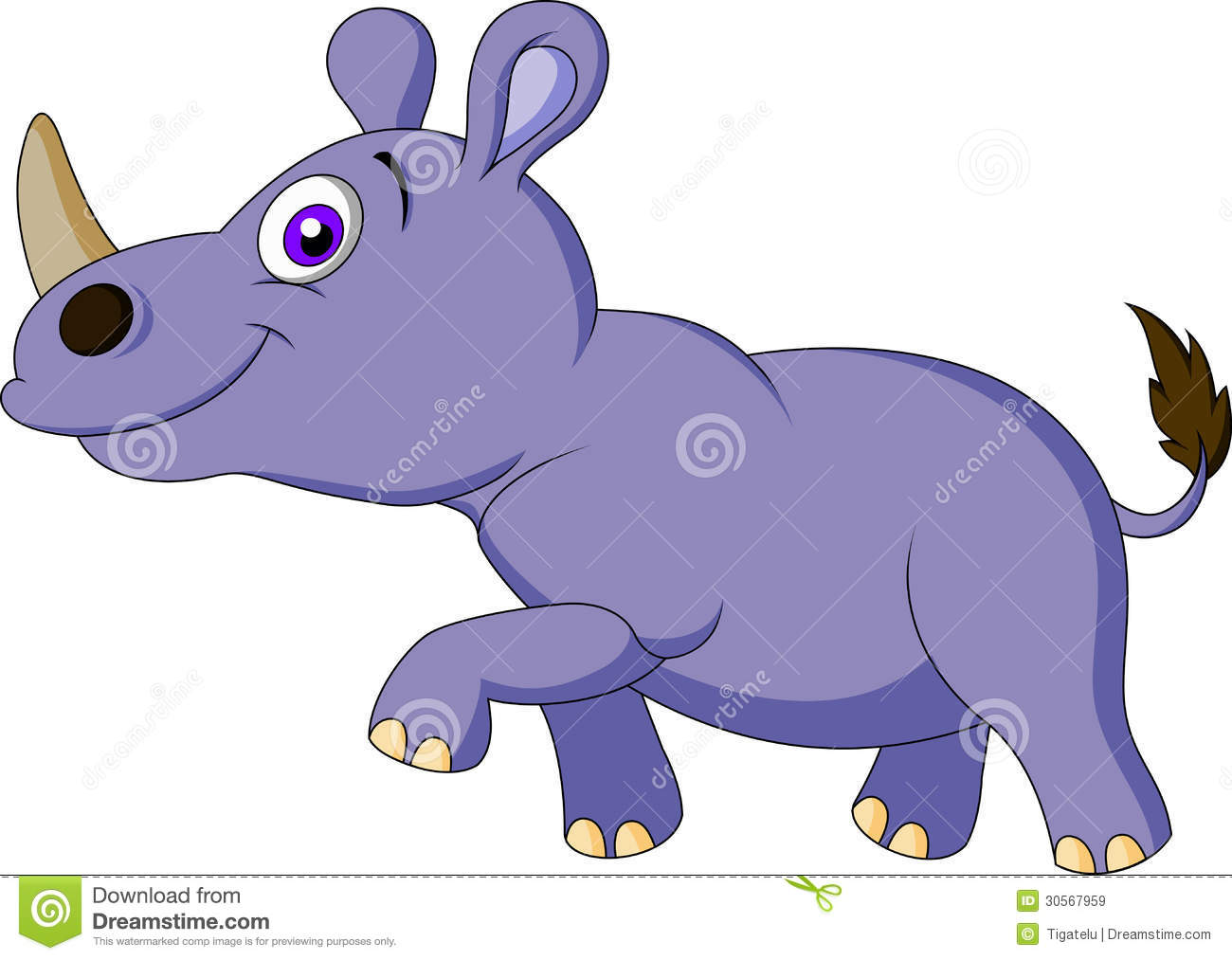 Cute rhino cartoon vector illustration cartoondealer