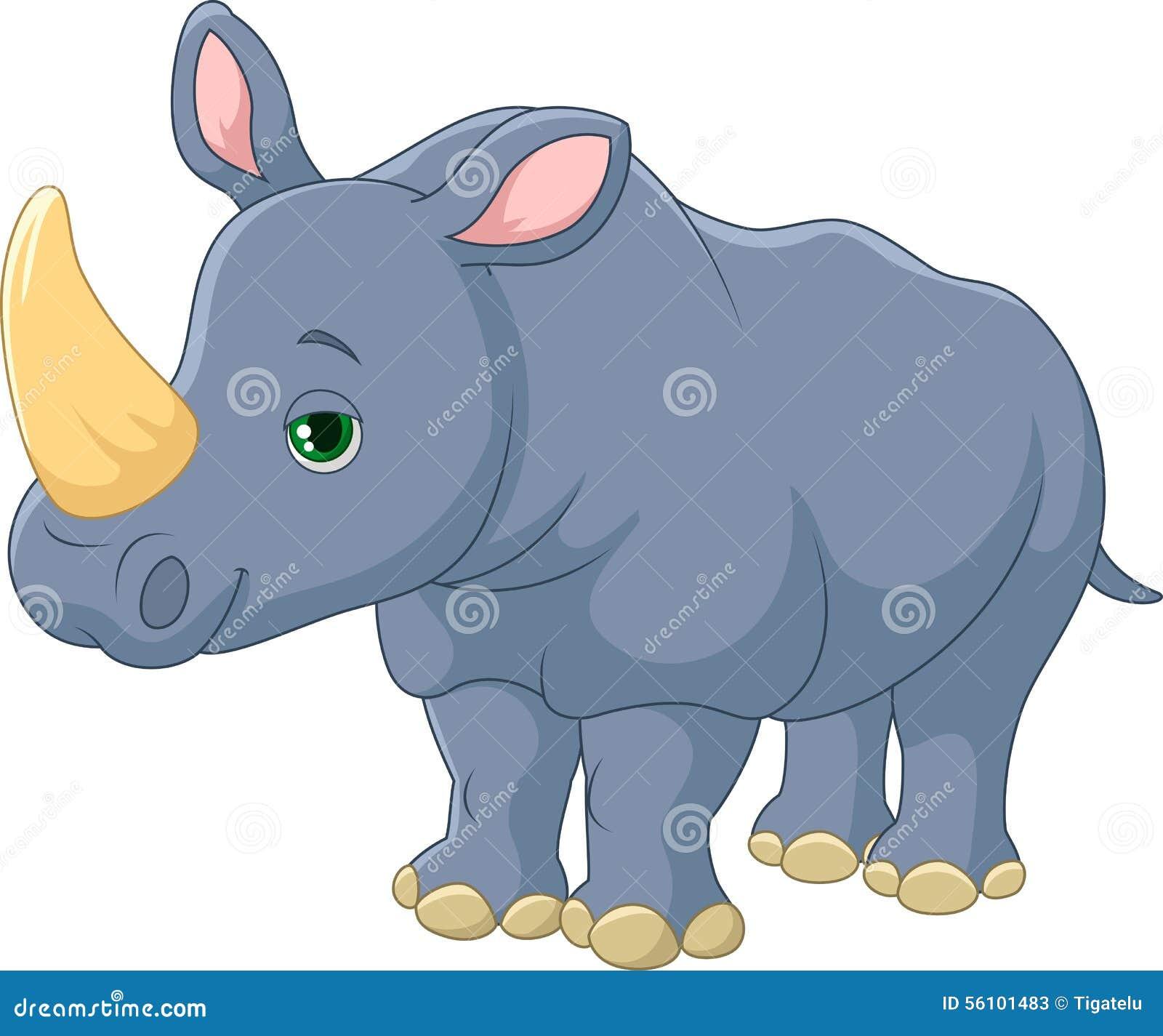 cute rhino cartoon stock vector image 56101483