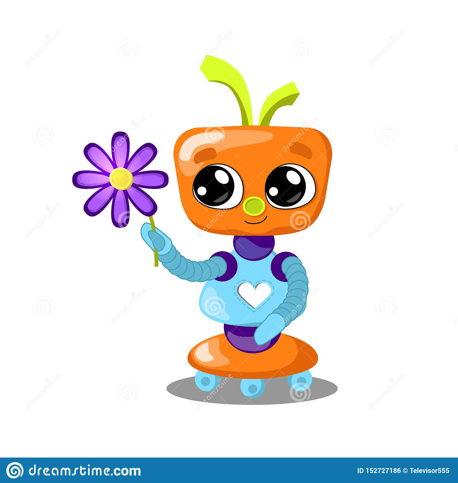 Cute robot with flower illustration on white background. Robot with heart in love. Feminine robot girl