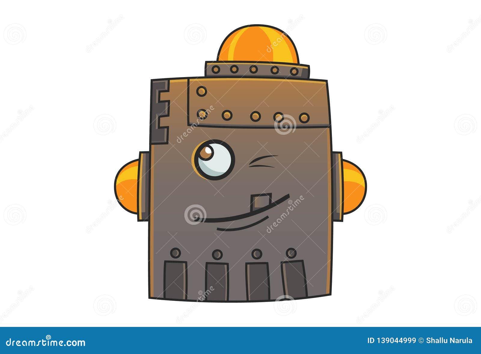 Cartoon Illustration Of Cute Iron Man.