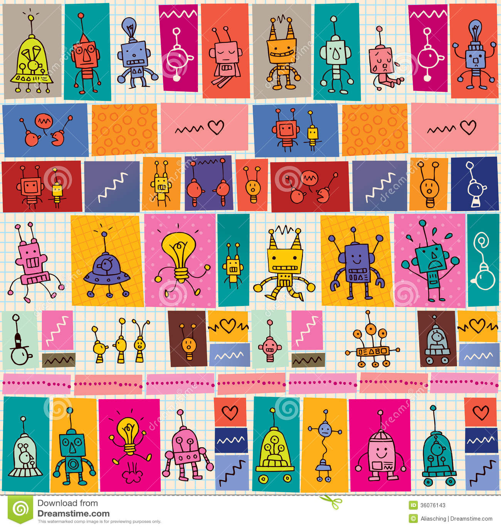 Cute robots pattern