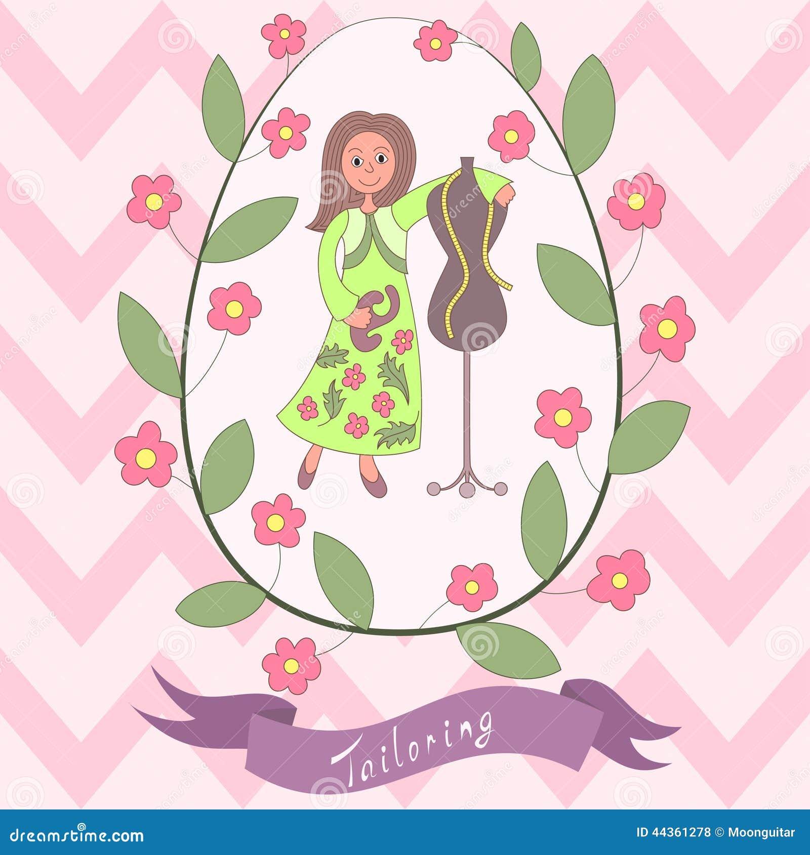Cute romantic card with happy cartoon seamstress