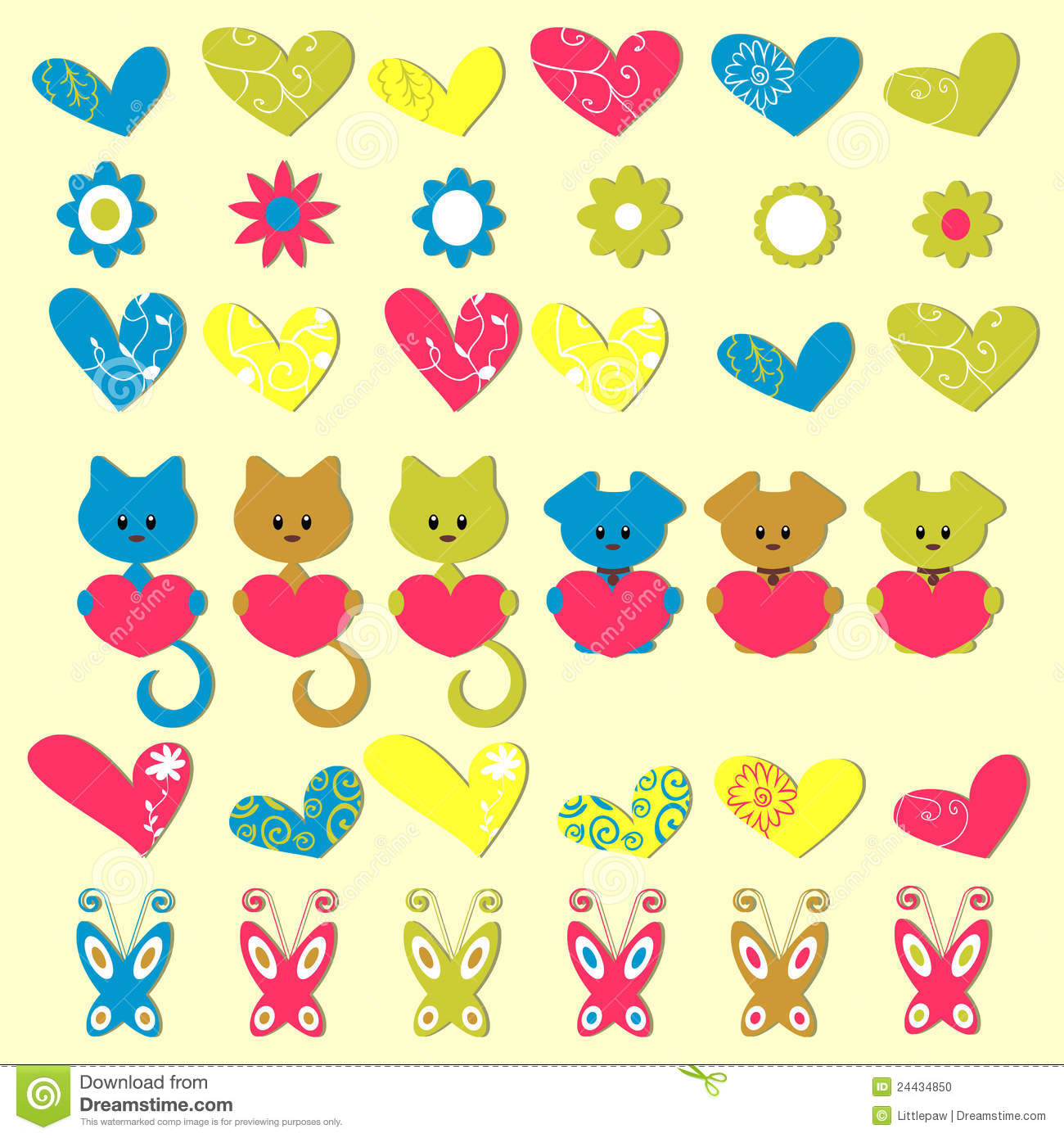Cute romantic colorful stickers stock photo image 24434850 for Stickers infantiles