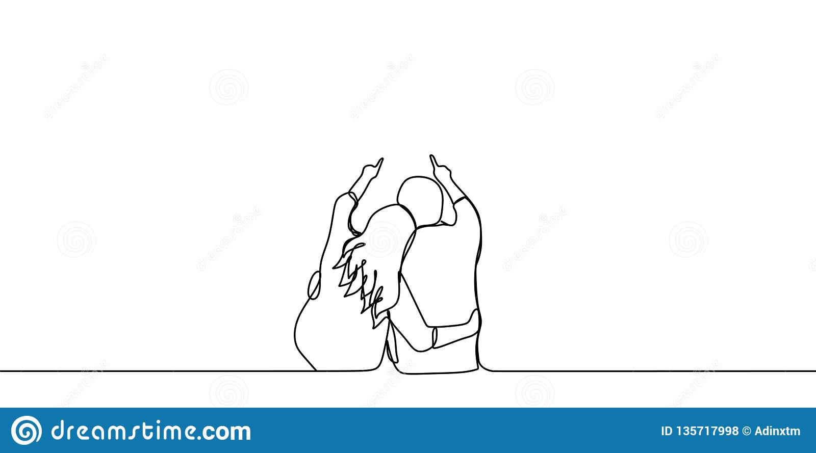 Cute And Romantic Couple One Line Drawing Vector Illustration Stock Vector Illustration Of Happiness Drawing 135717998