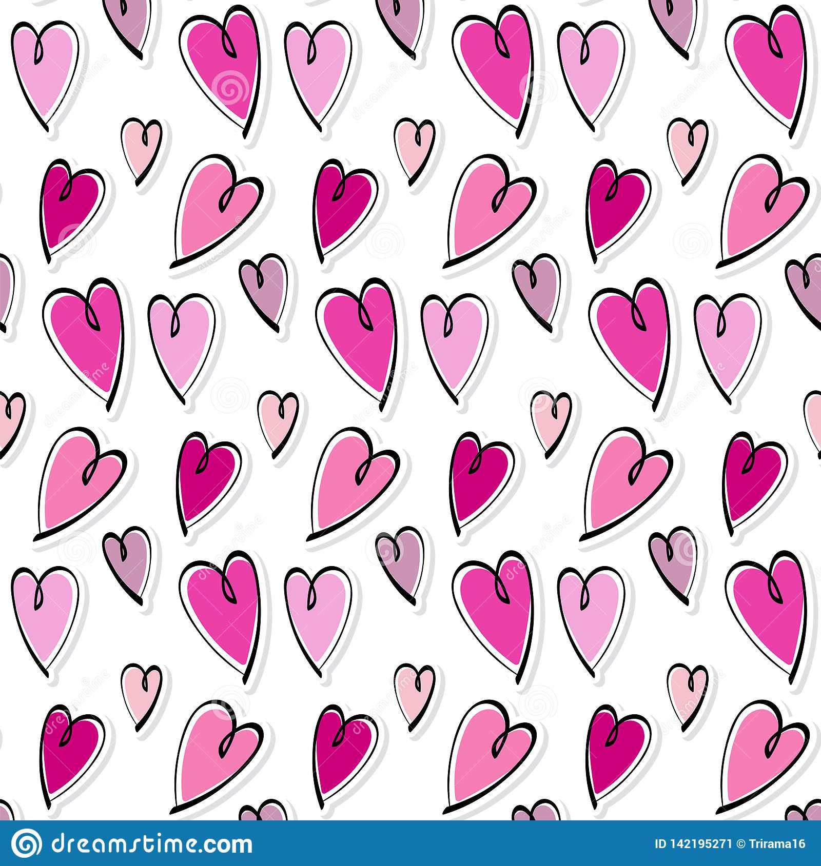 Cute romantic hearts valentine`s day pattern background