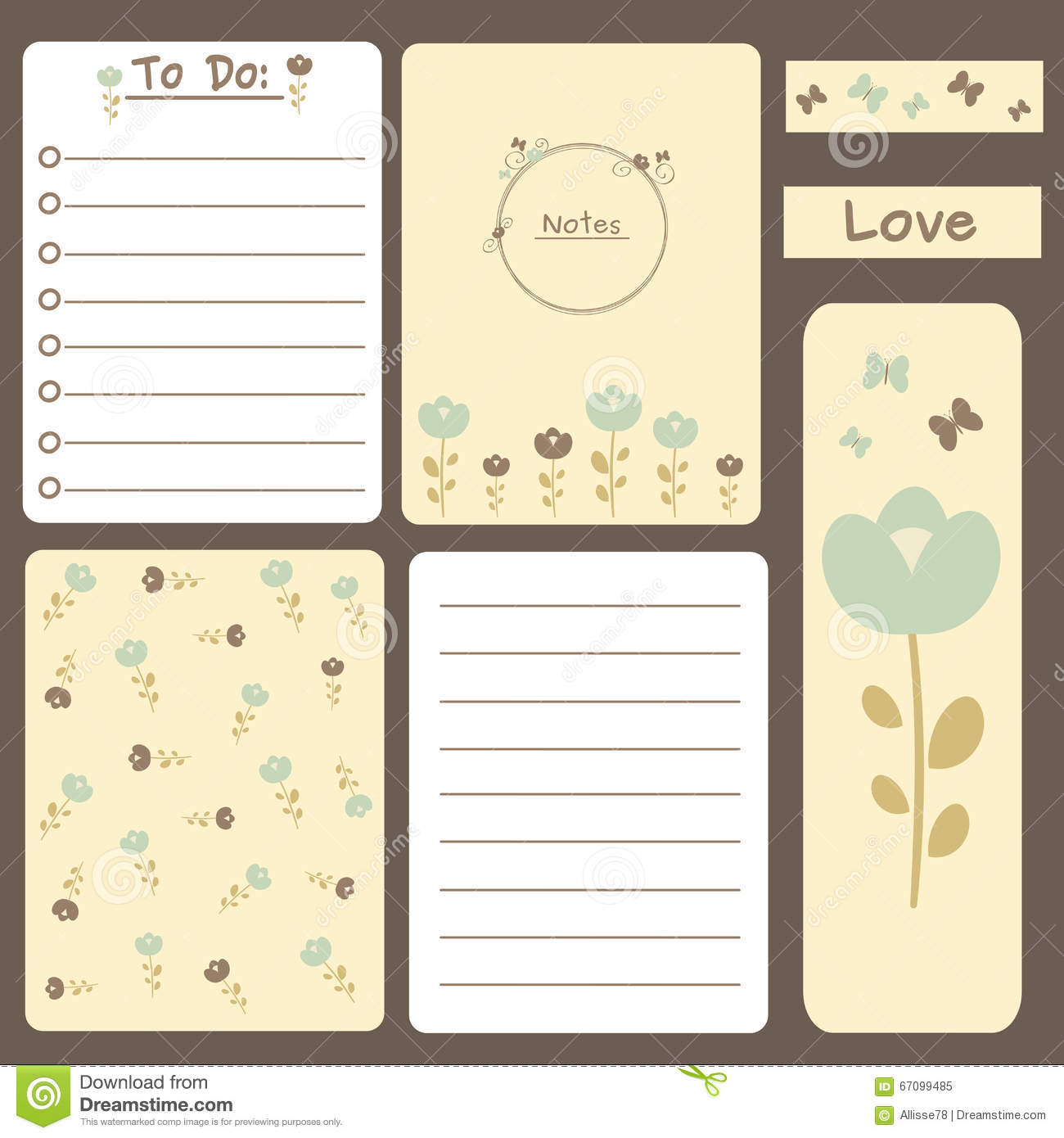 Cute romantic printable journal cards, notes, to do list, stickers and ...