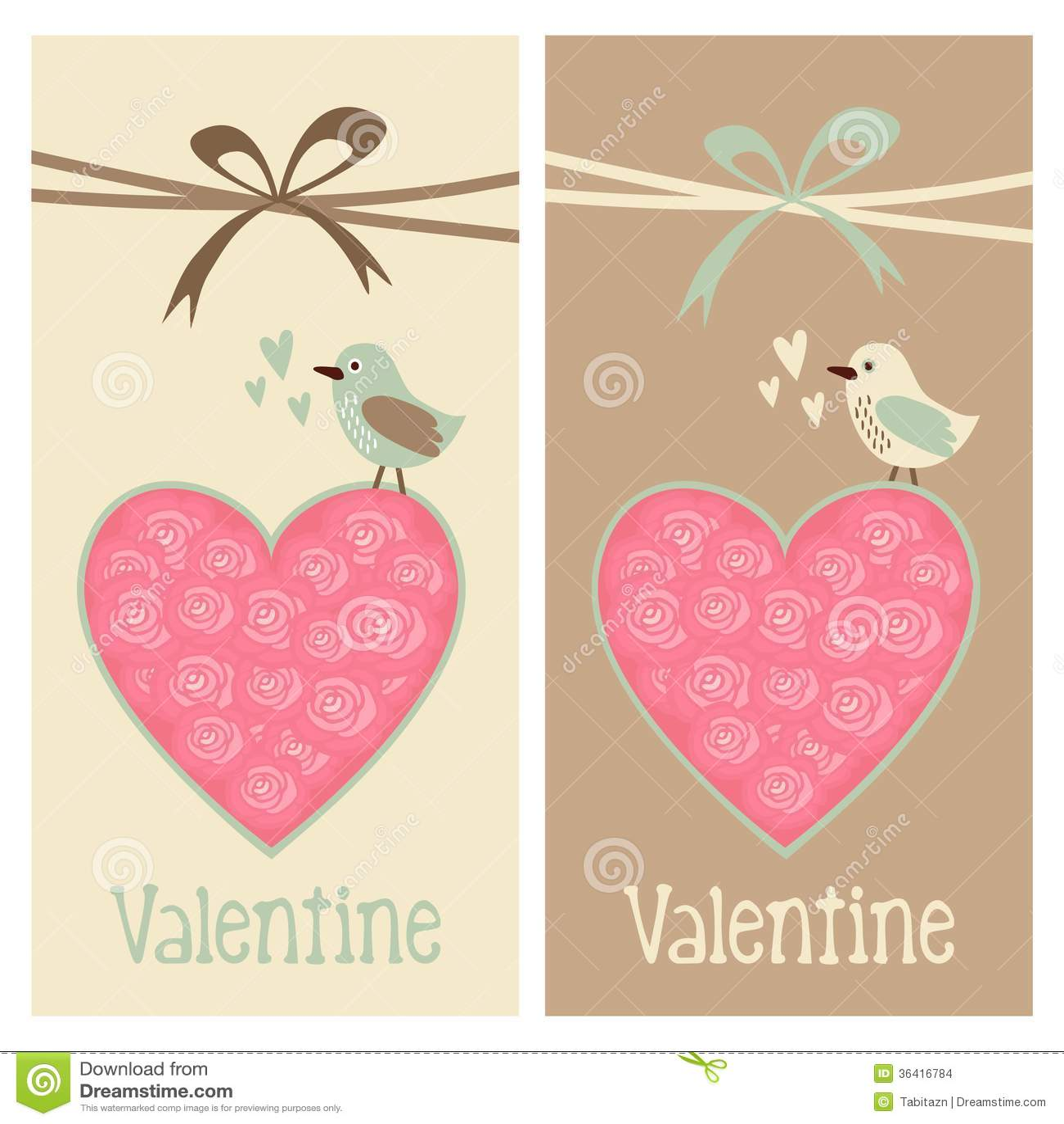 Cute romantic set of valentine birthday wedding cards invitations cute romantic set of valentine birthday wedding cards invitations with bird and floral heart filmwisefo