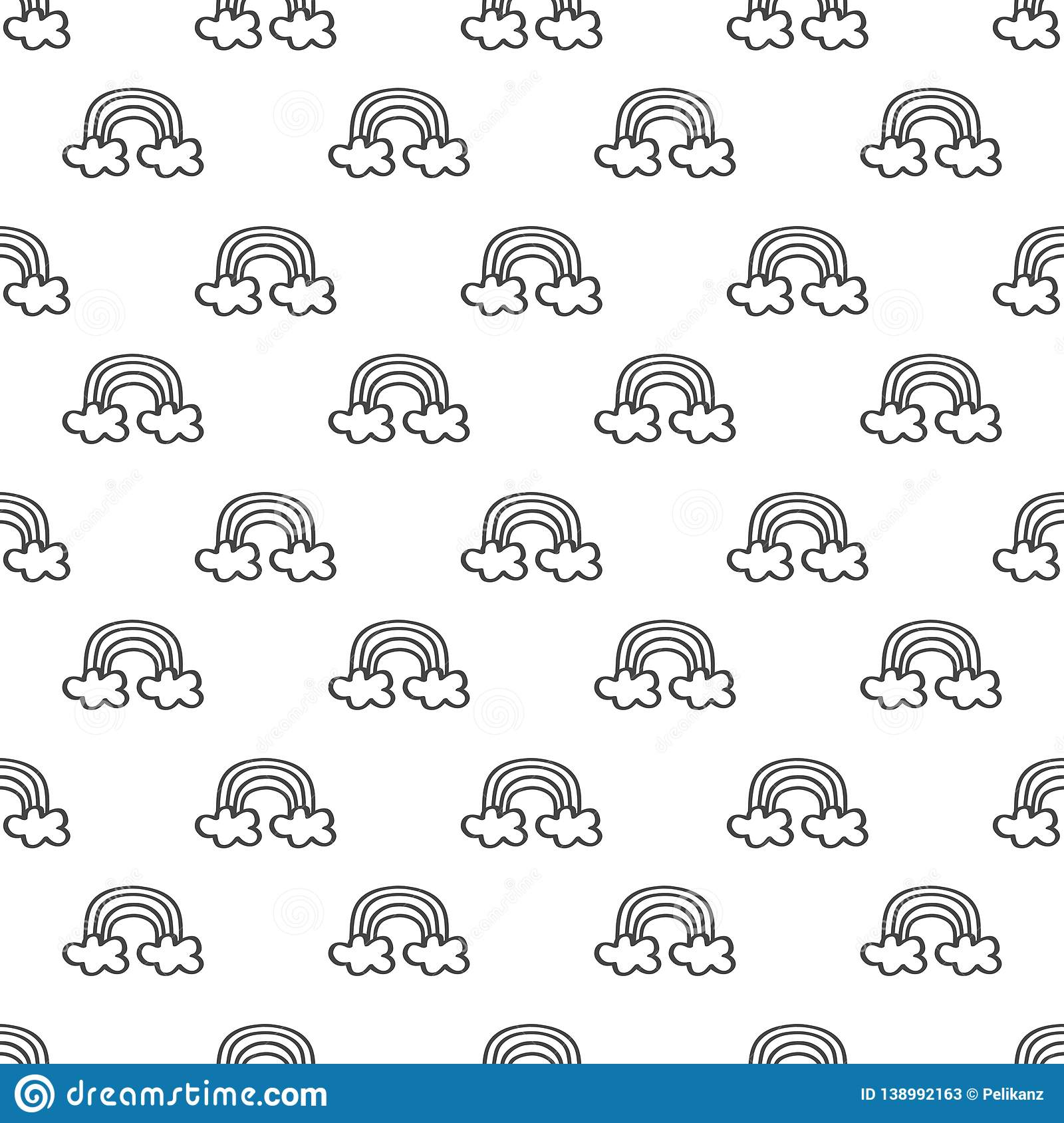 Cute rows of hand drawn black line little rainbows with clouds pattern on white