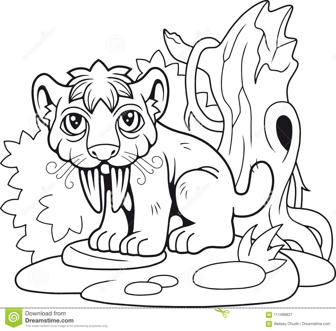 Cute Saber Toothed Tiger Funny Illustration Stock Vector
