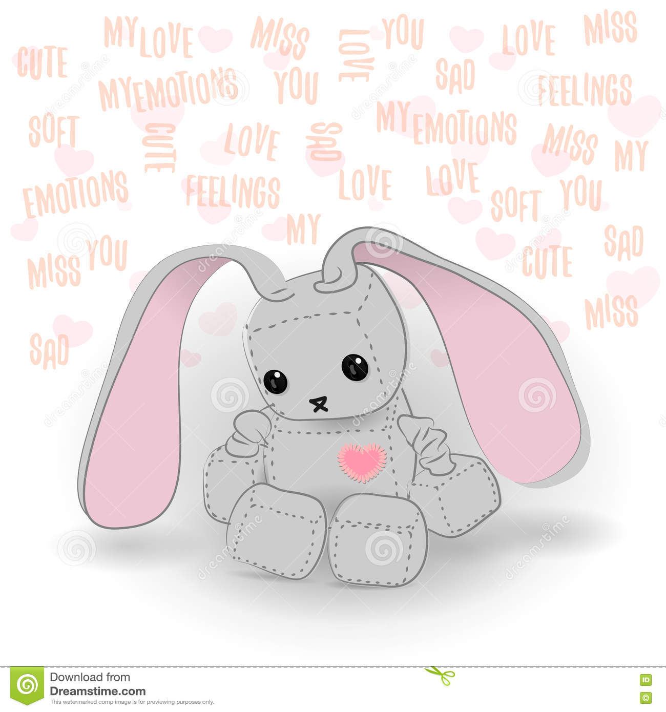 Cute Sad Bunny Robot Miss You Stock Vector Illustration Of Icon