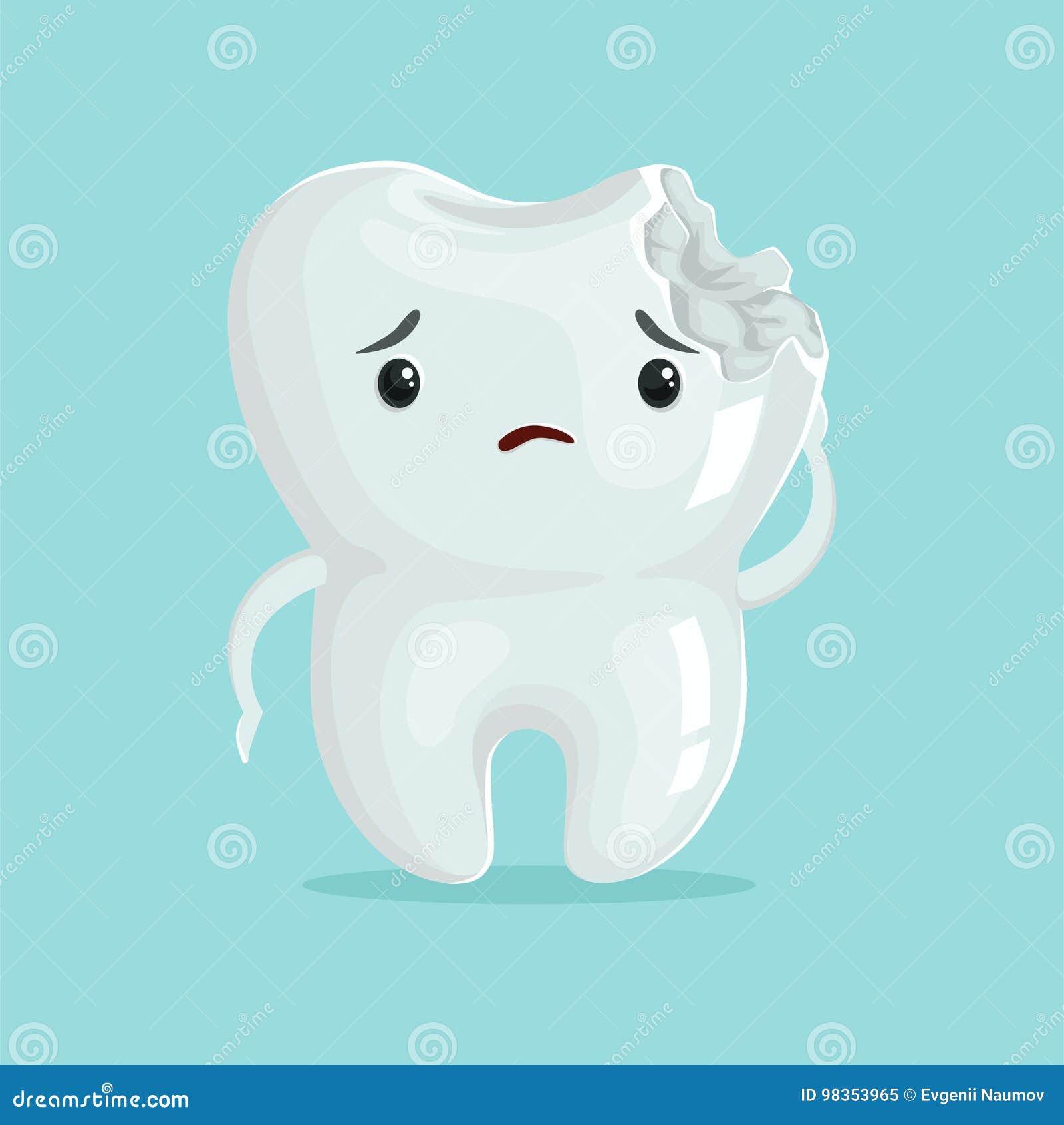 Cute Cartoon Tooth Cavity Vector Illustration