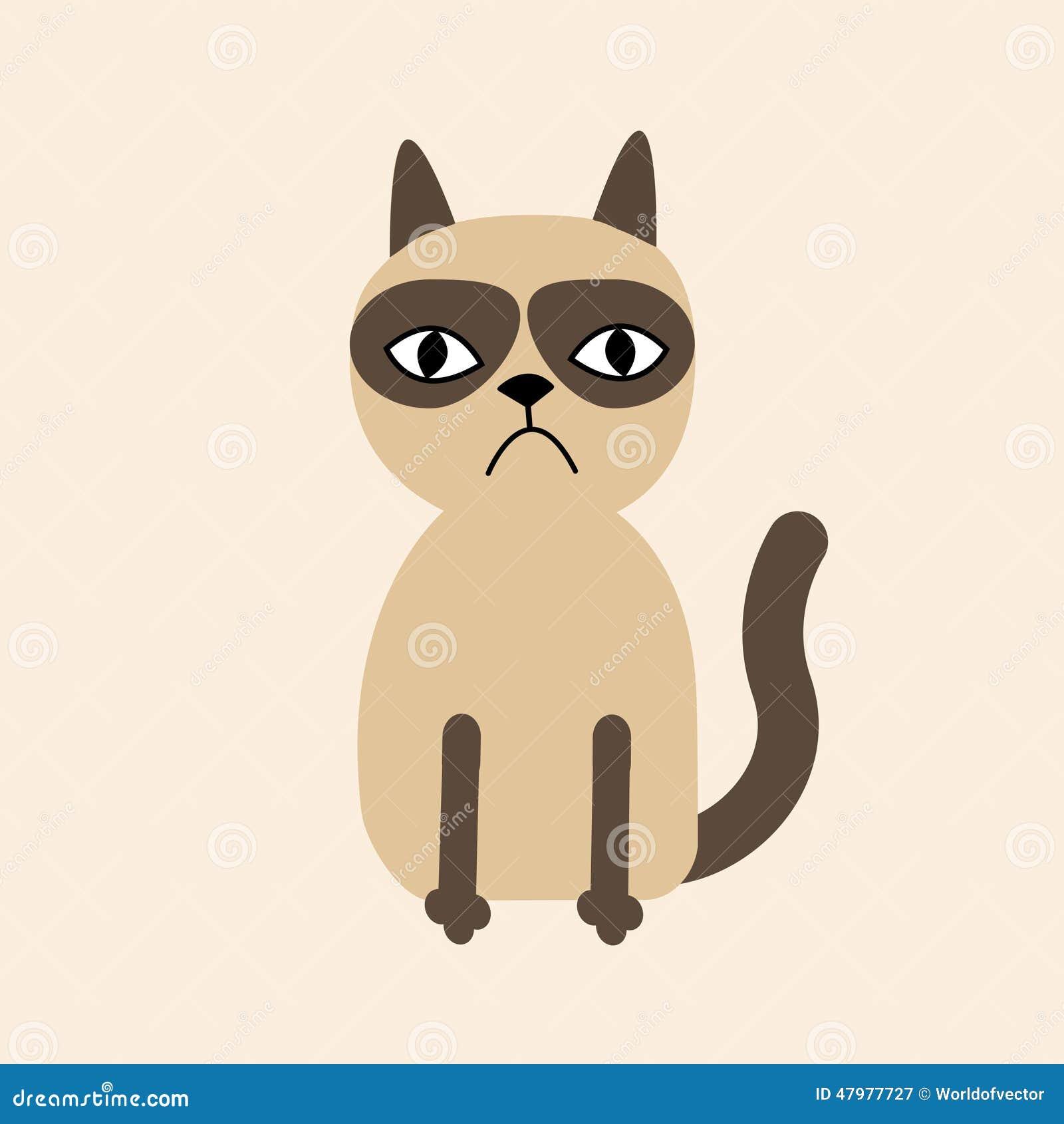 Cute Sad Grumpy Siamese Cat In Flat Design Style. Stock ...