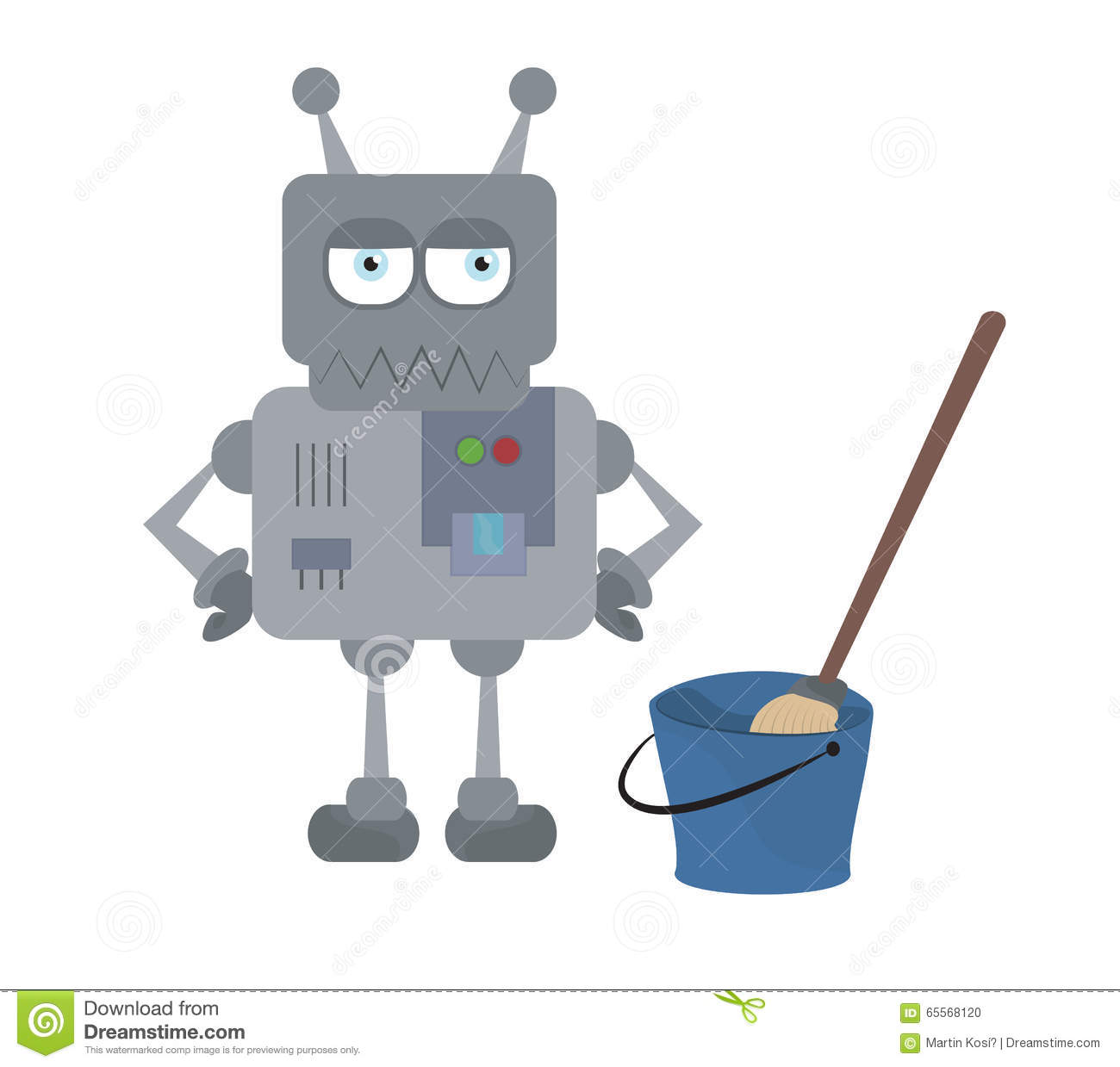 Cute Sad House Robot And Cleaning Tools Standing Stock