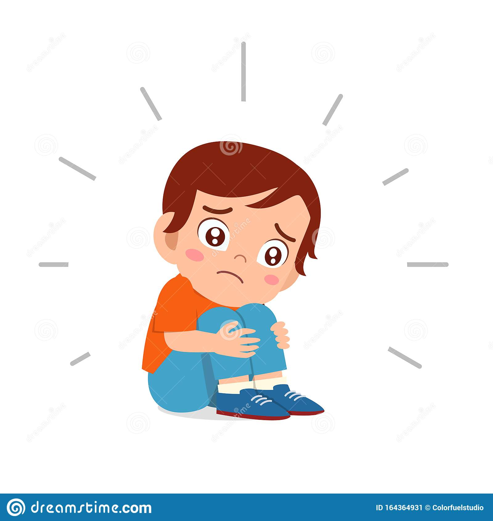 Cute Sad Kid Boy Sitting Alone Scared Stock Illustration Illustration Of Unhappy Depression 164364931
