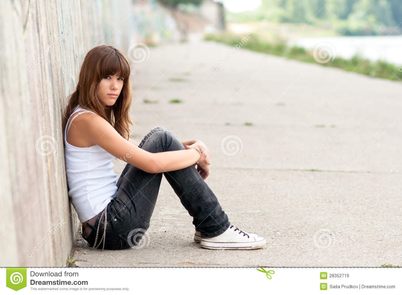 Cute Sad Teenage Girl Sitting Stock Image - Image of puberty