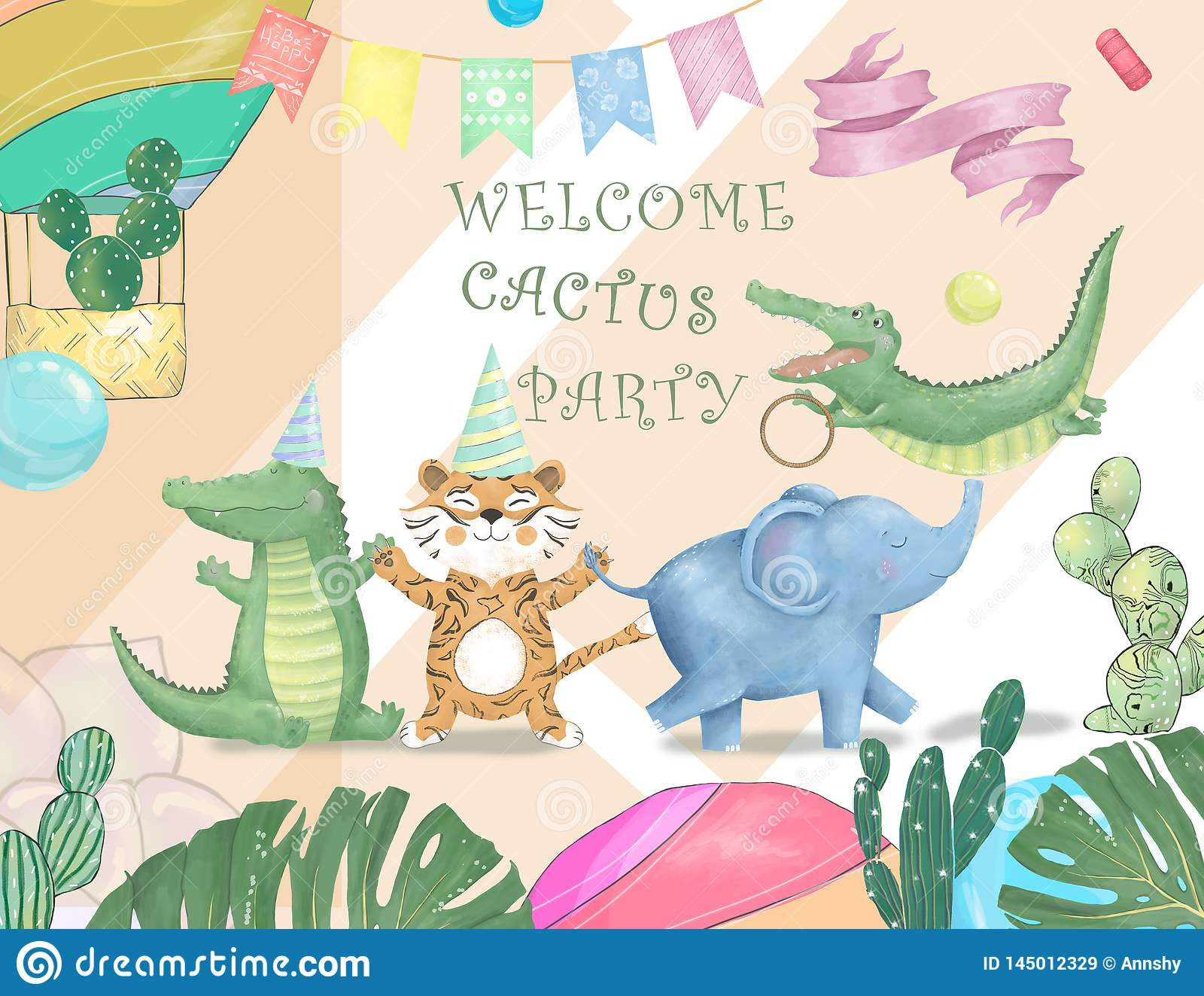 Cute safari watercolor cartoon animals border with cloud shaped copy space for kids party invitation card template