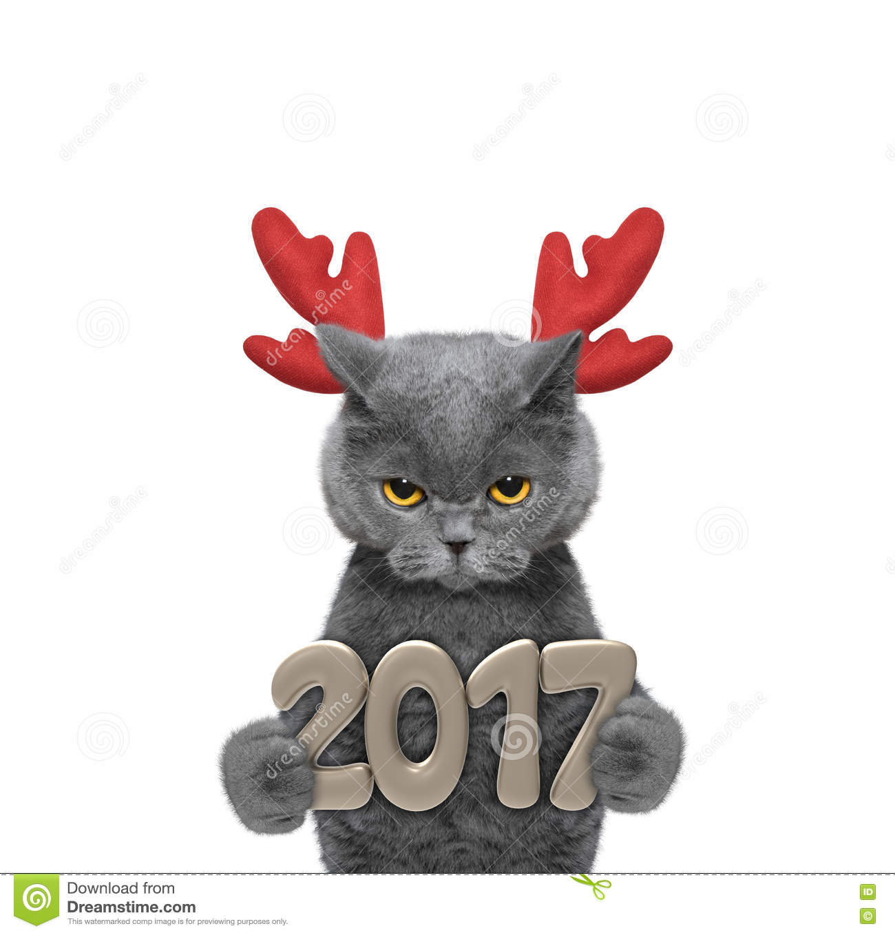 cute santa cat in reindeer antlers with 2017 new year numbers stock